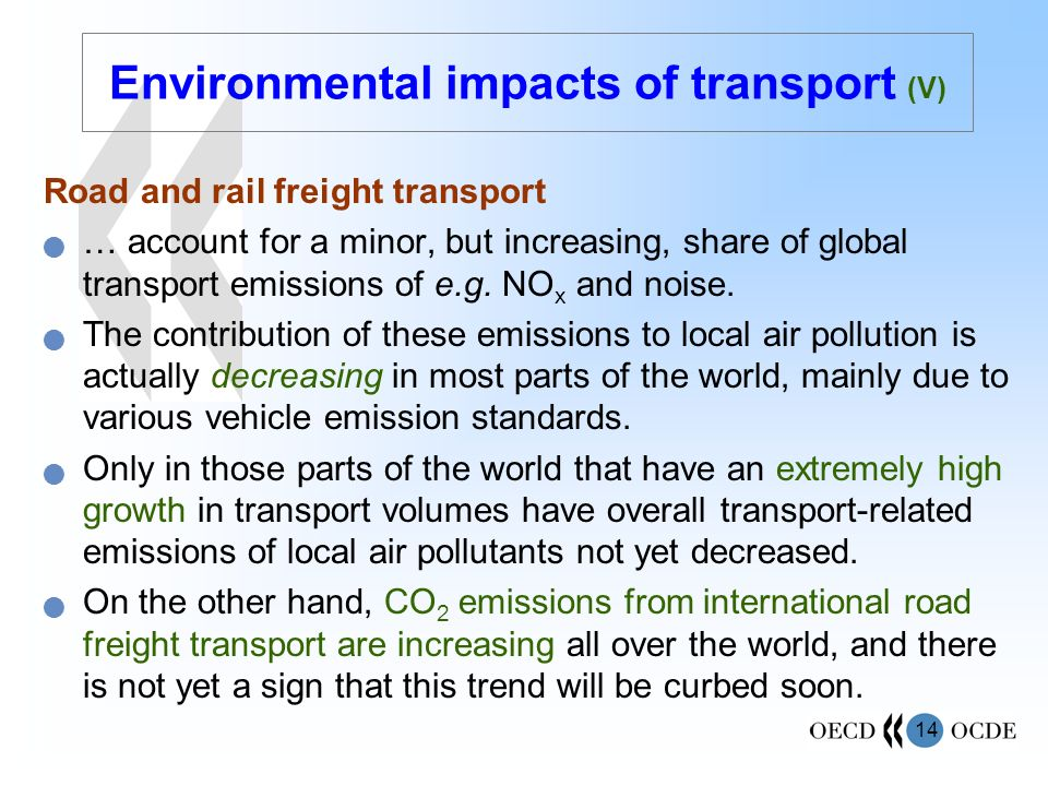 Environmental impacts of transport (V)