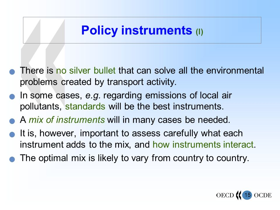 Policy instruments (I)