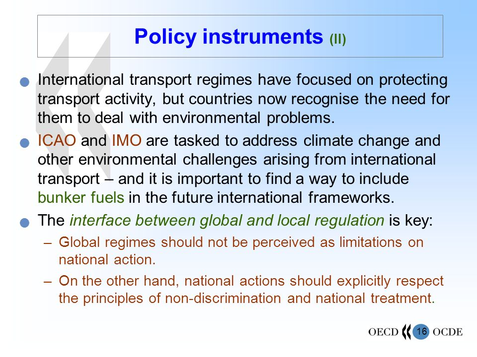 Policy instruments (II)