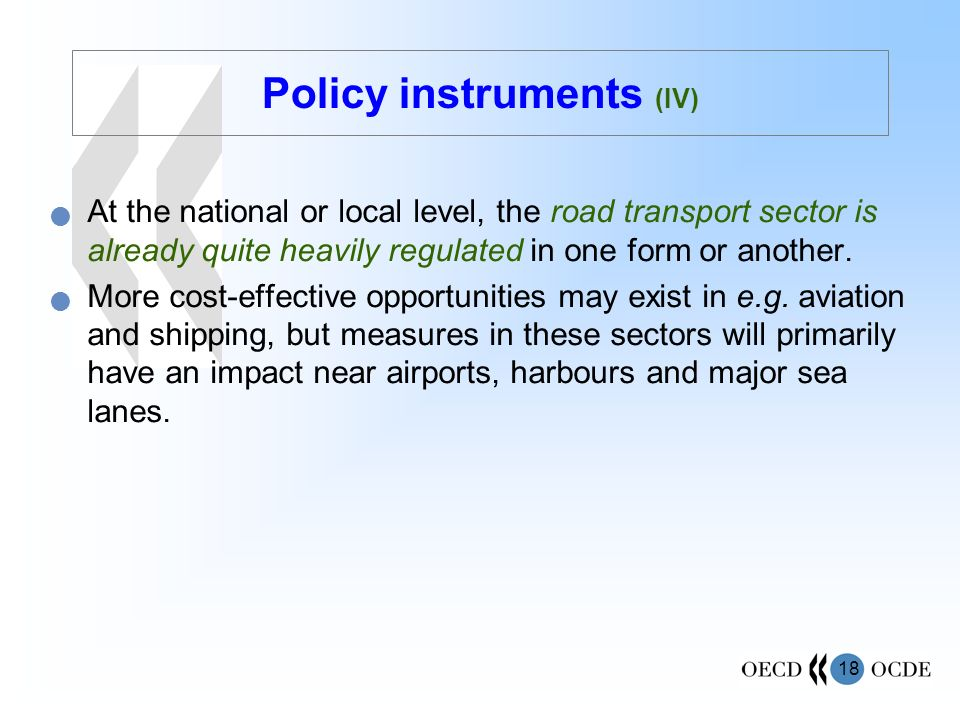 Policy instruments (IV)