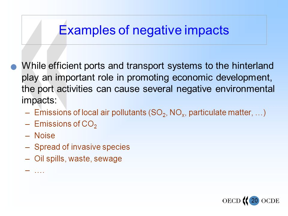 Examples of negative impacts