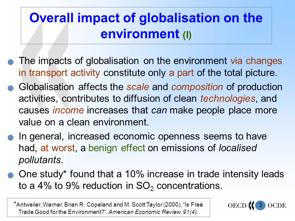 Overall impact of globalisation on the environment (I)