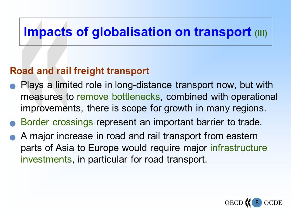 Impacts of globalisation on transport (III)