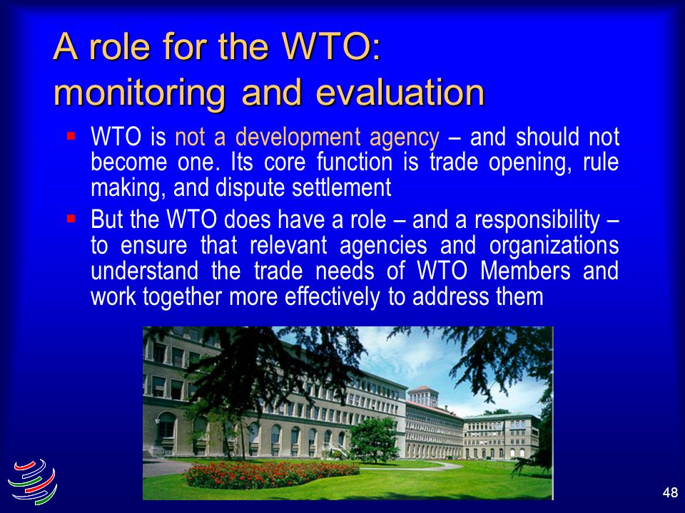 A role for the WTO: monitoring and evaluation