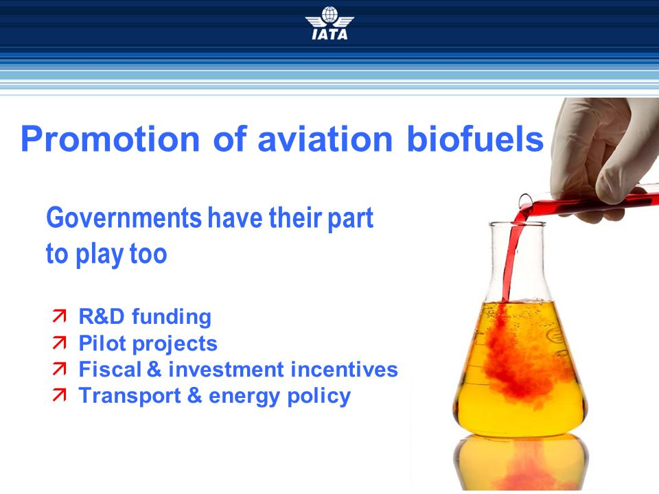 Promotion of aviation biofuels Governments have their part to play too