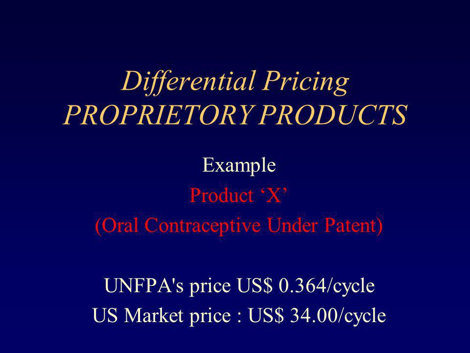 Differential Pricing PROPRIETORY PRODUCTS