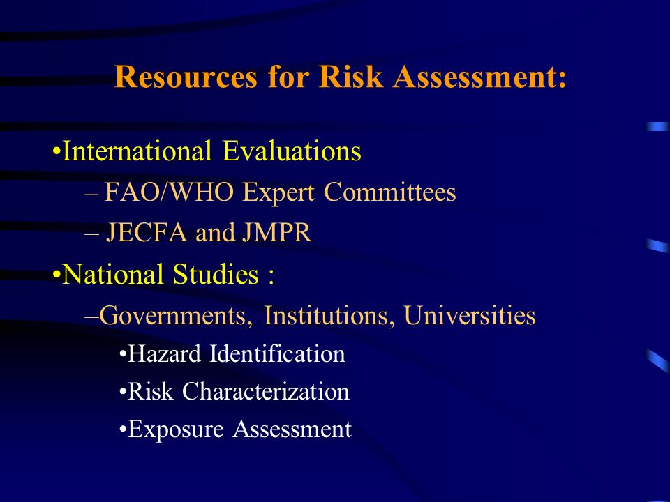 Resources for Risk Assessment: