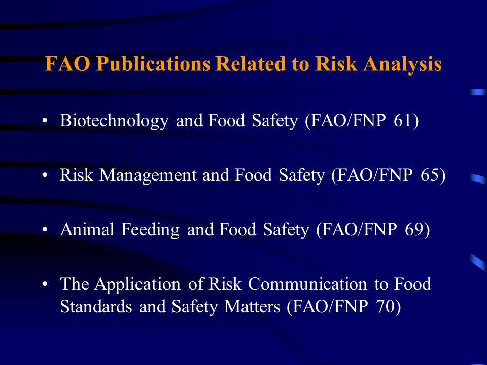 FAO Publications Related to Risk Analysis