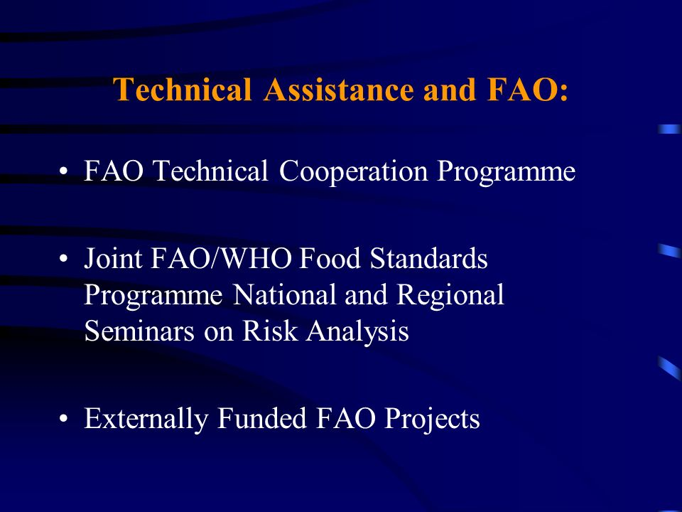 Technical Assistance and FAO: