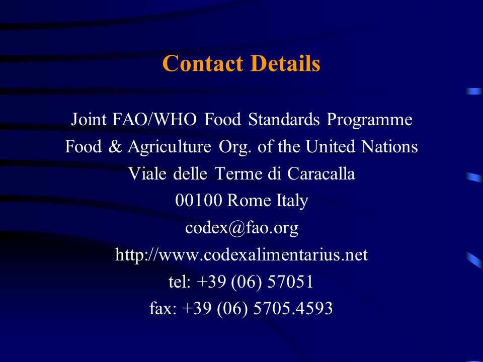 Contact Details Joint FAO/WHO Food Standards Programme
