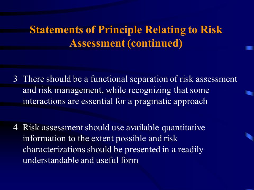Statements of Principle Relating to Risk Assessment (continued)
