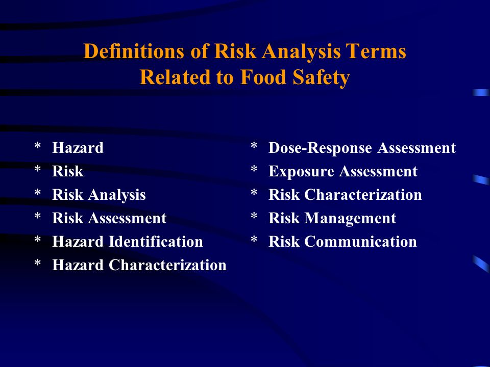 Definitions of Risk Analysis Terms Related to Food Safety