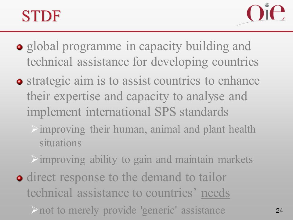 STDF global programme in capacity building and technical assistance for developing countries.