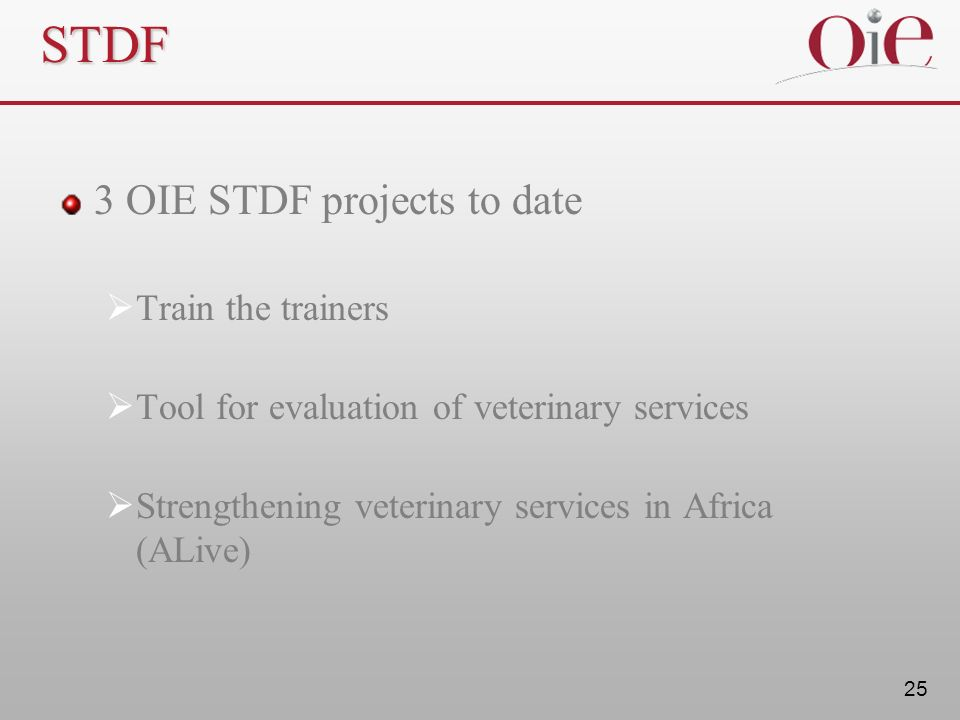 STDF 3 OIE STDF projects to date Train the trainers