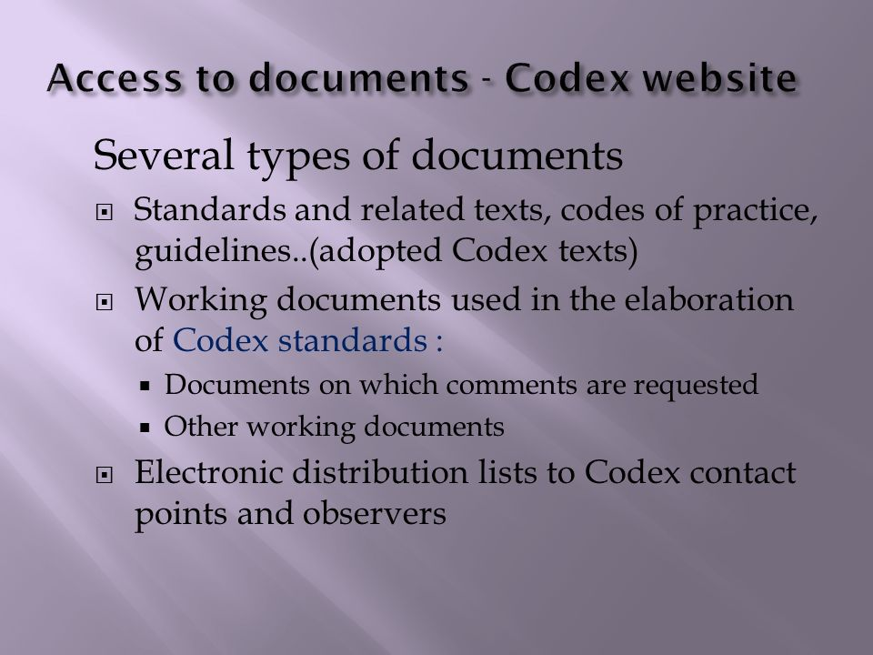 Access to documents - Codex website