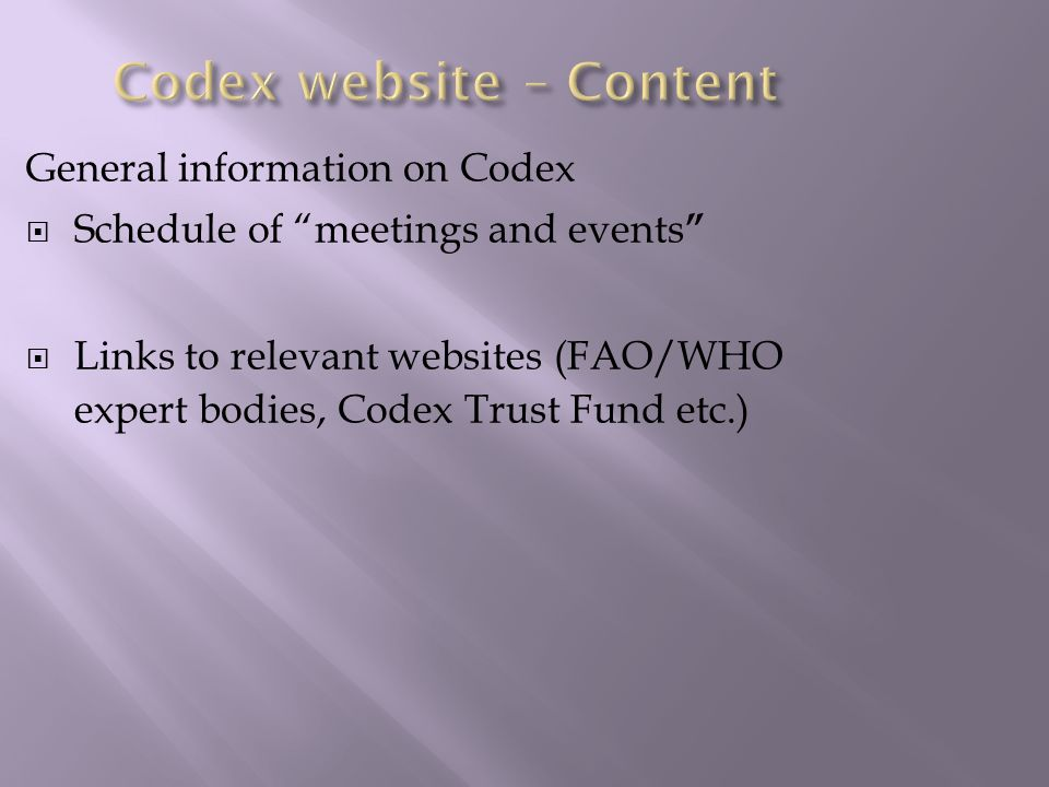 Codex website – Content