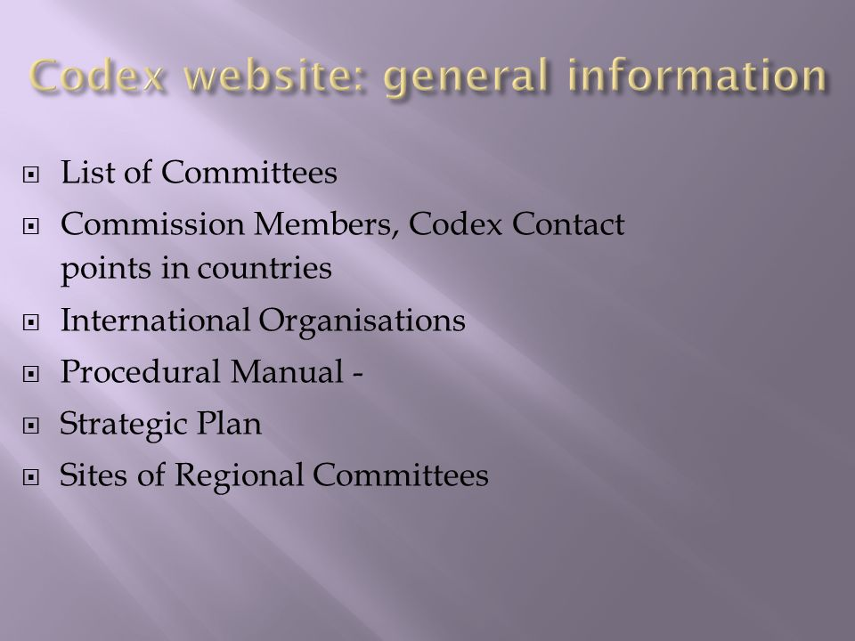 Codex website: general information