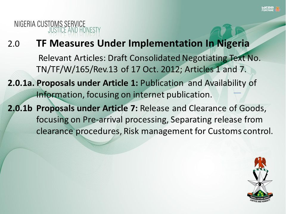 2.0 TF Measures Under Implementation In Nigeria