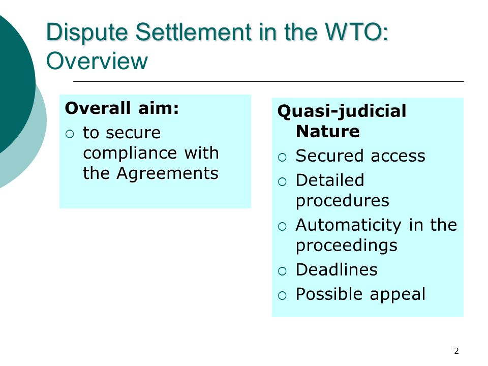 Dispute Settlement in the WTO: Overview