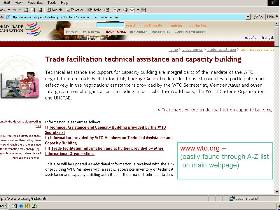 www.wto.org – (easily found through A-Z list on main webpage)