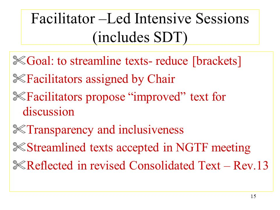 Facilitator –Led Intensive Sessions (includes SDT)