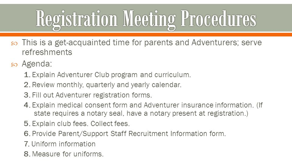 The Adventurer Administrative Procedure - ppt download