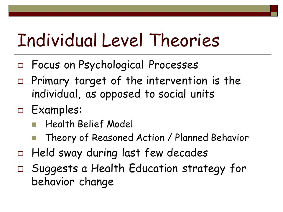 Individual Level Theories