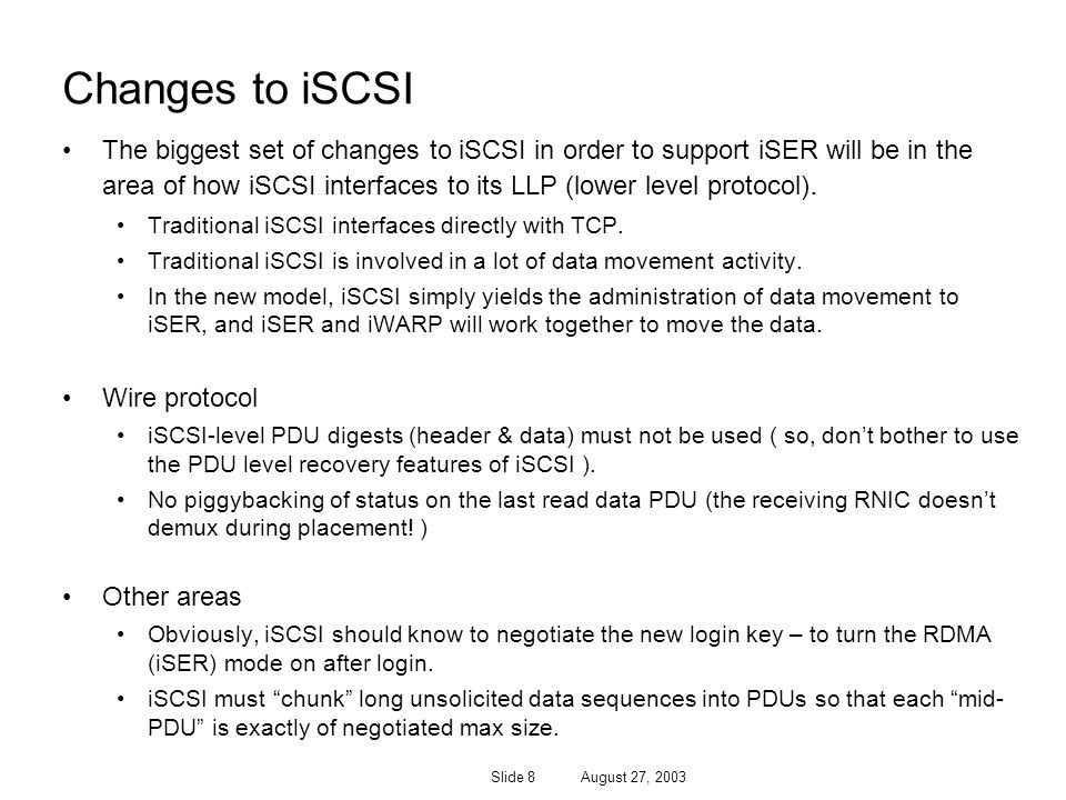 Changes to iSCSI