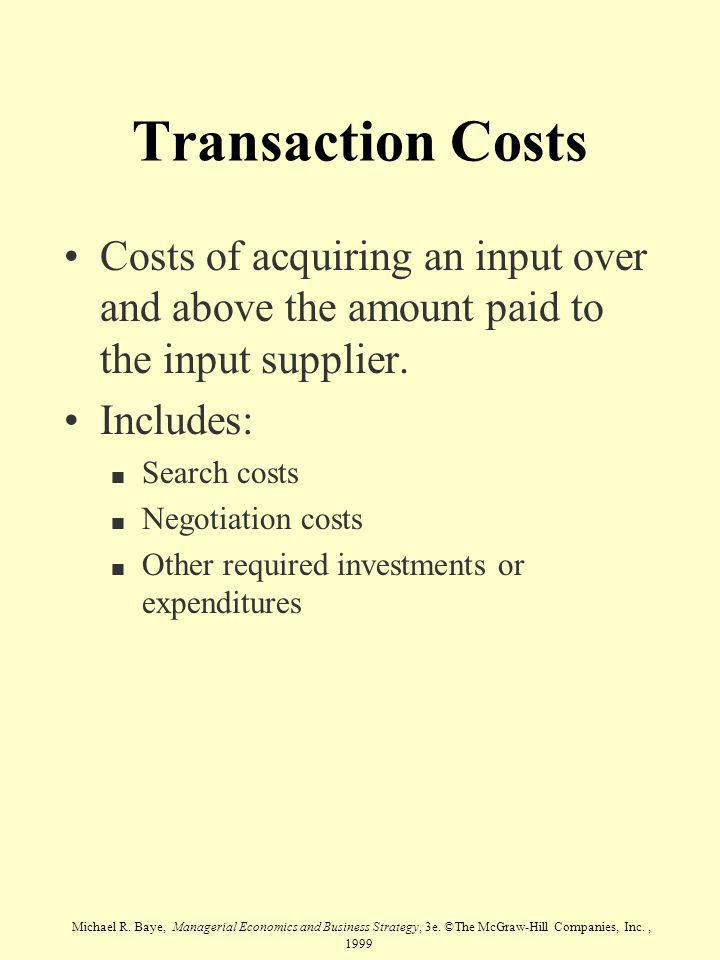 Transaction Costs Costs of acquiring an input over and above the amount paid to the input supplier.