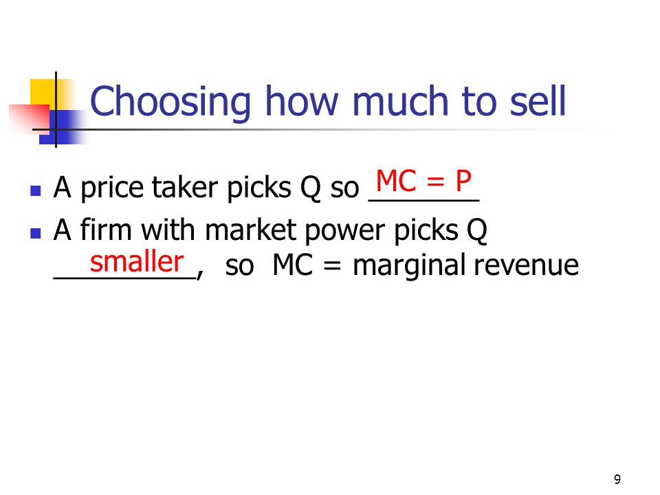 Choosing how much to sell