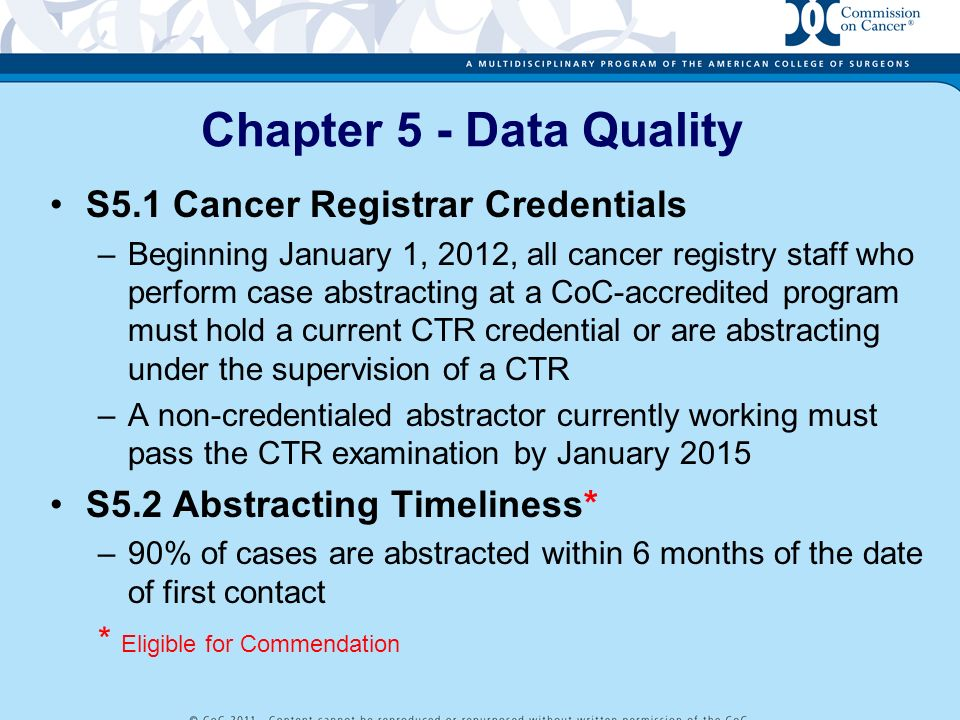 Chapter 5 - Data Quality S5.1 Cancer Registrar Credentials