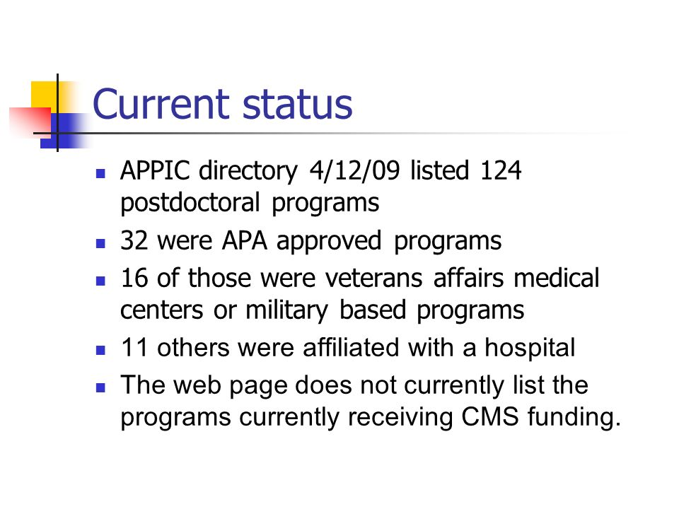 Current status APPIC directory 4/12/09 listed 124 postdoctoral programs. 32 were APA approved programs.