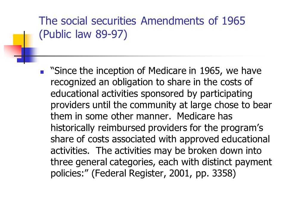 The social securities Amendments of 1965 (Public law 89-97)