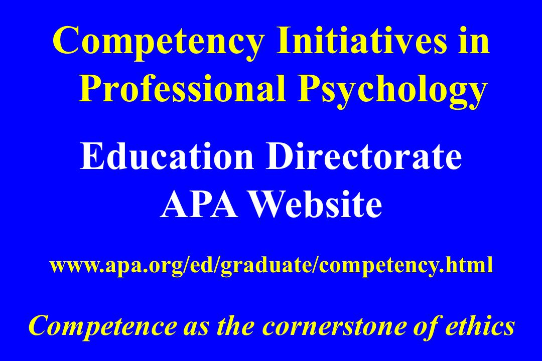 Education Directorate Competence as the cornerstone of ethics