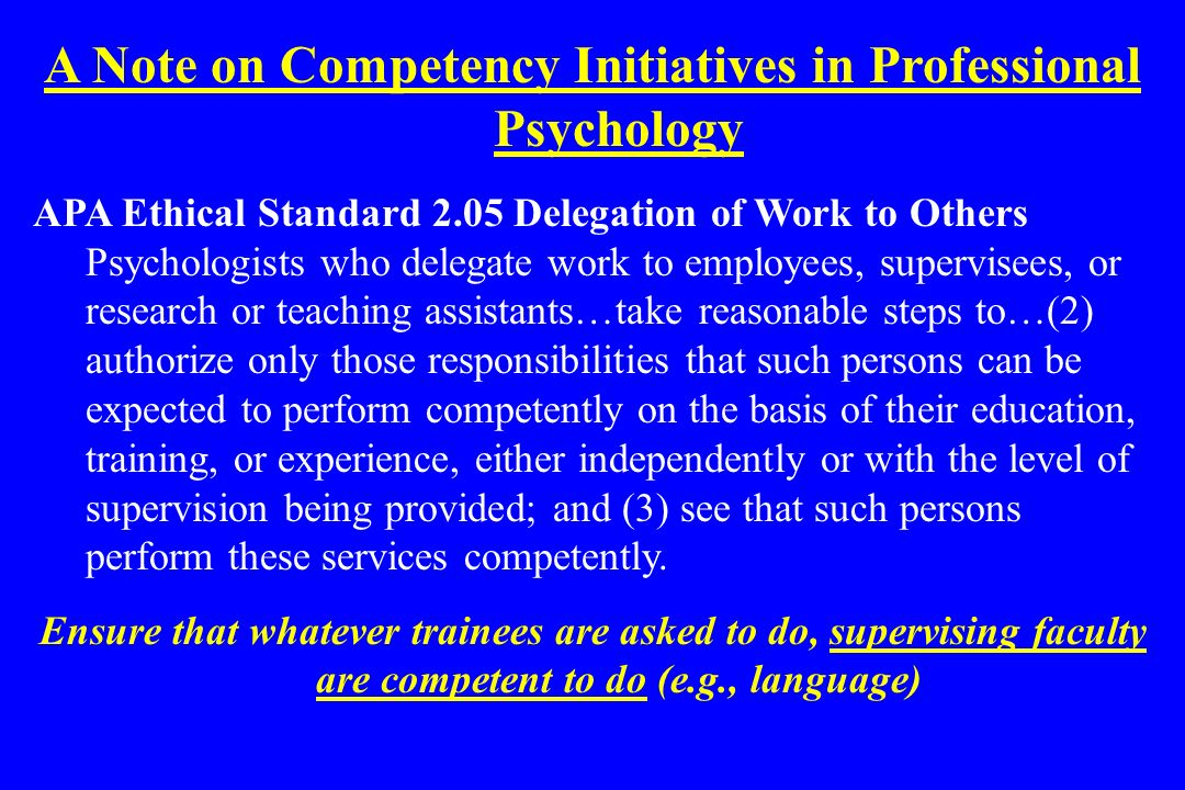 A Note on Competency Initiatives in Professional Psychology