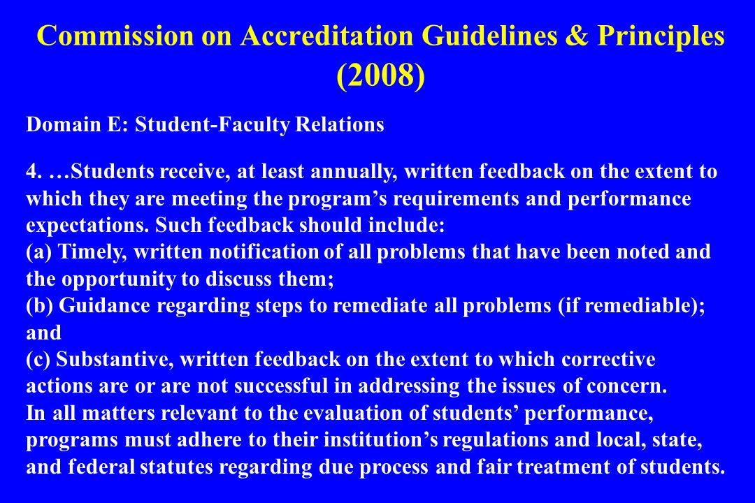 Commission on Accreditation Guidelines & Principles (2008)