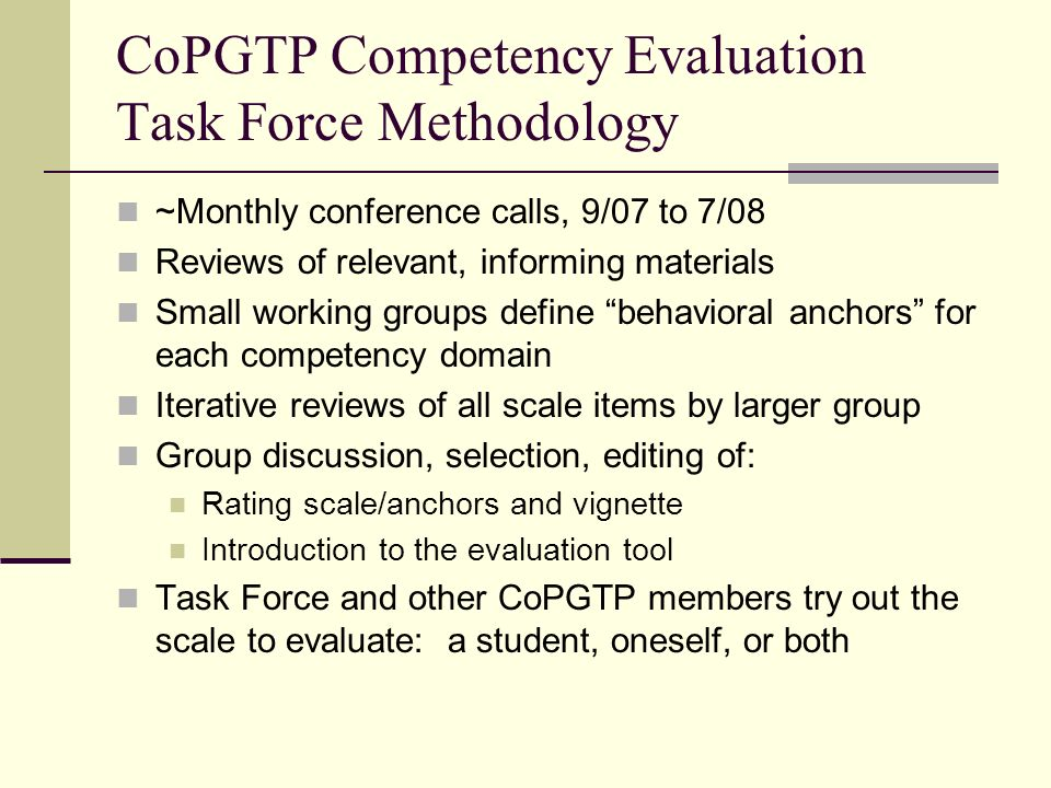 CoPGTP Competency Evaluation Task Force Methodology