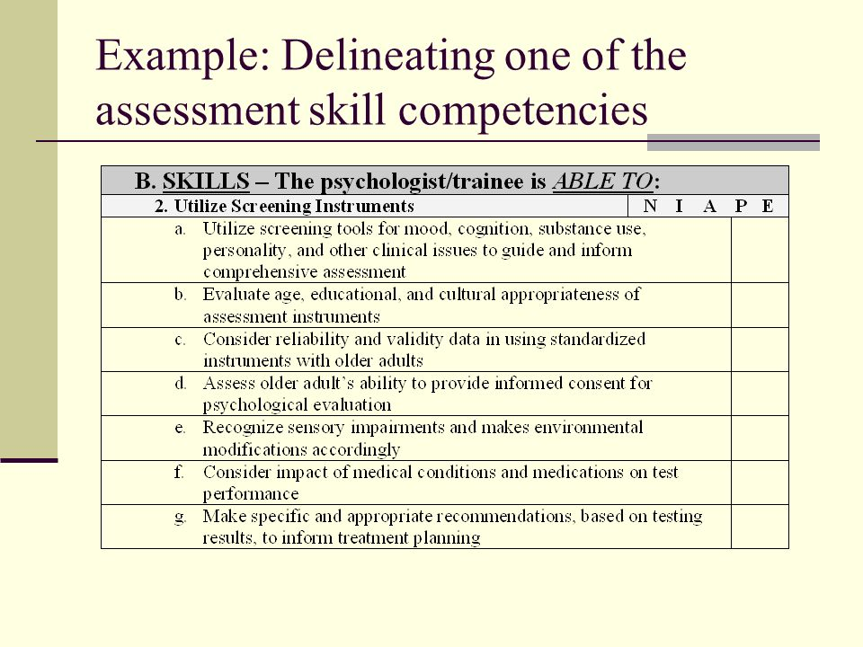 Example: Delineating one of the assessment skill competencies