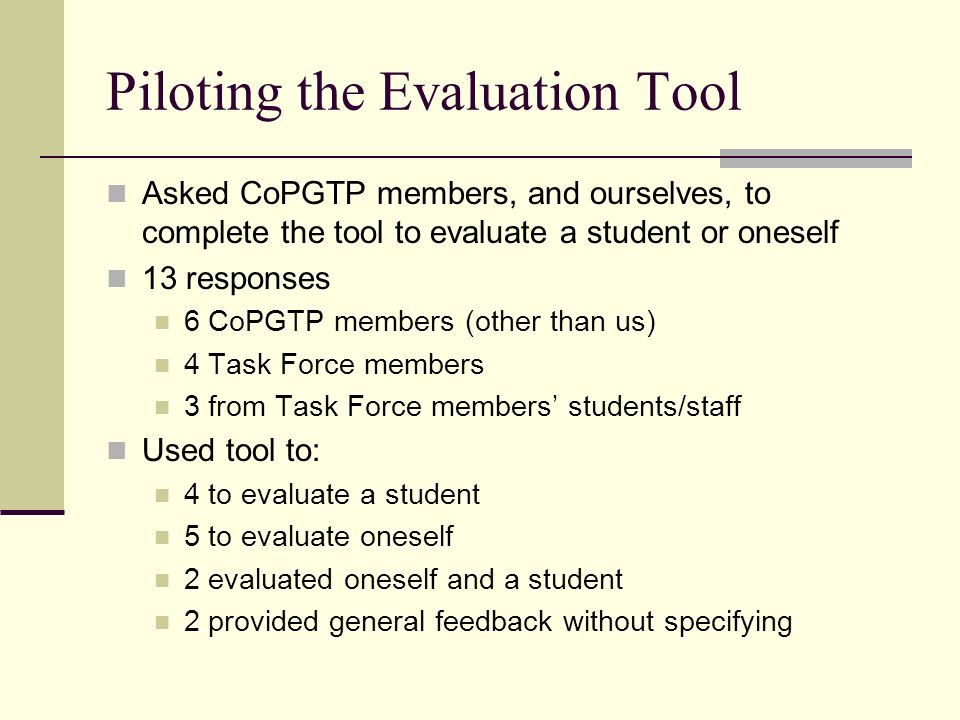 Piloting the Evaluation Tool