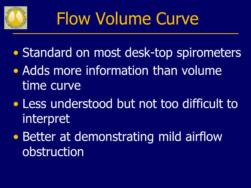 Flow Volume Curve Standard on most desk-top spirometers