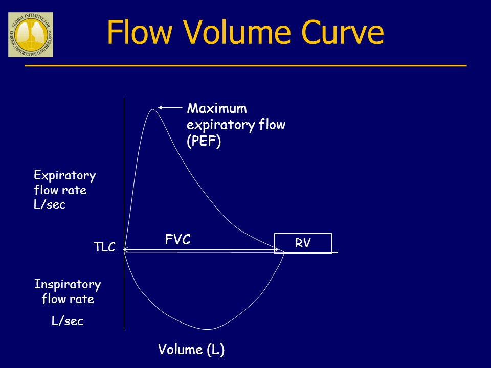 Flow Volume Curve Maximum expiratory flow (PEF) FVC Volume (L)