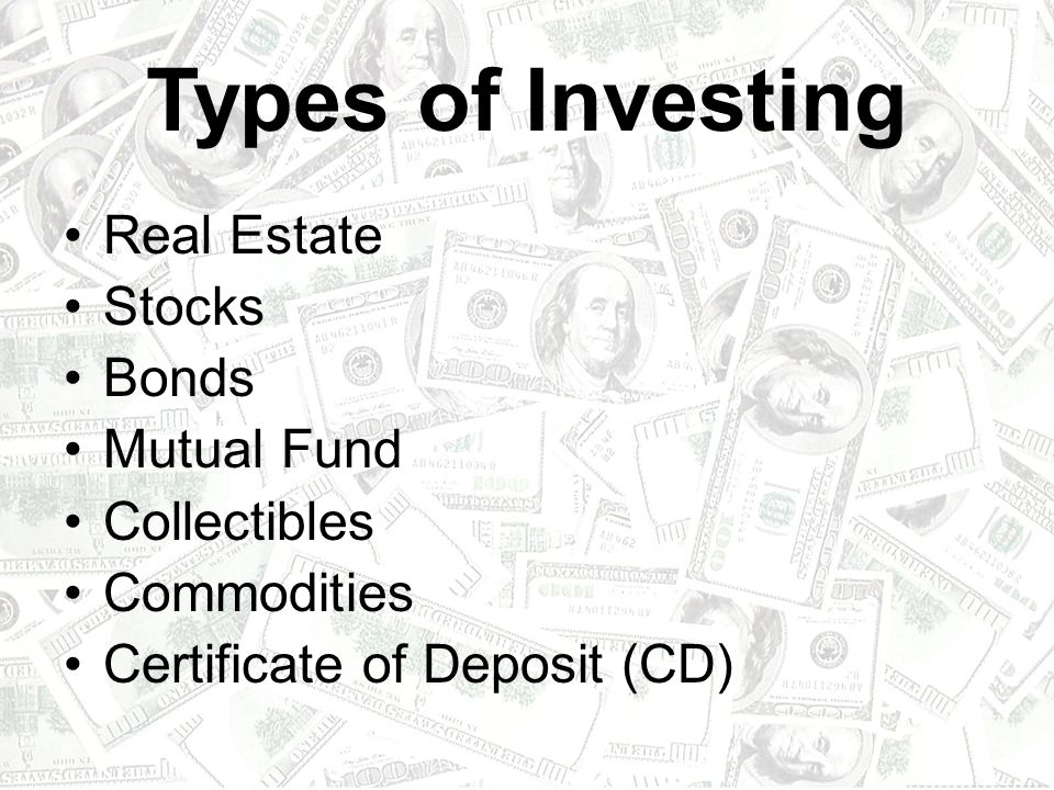 Types of Investing Real Estate Stocks Bonds Mutual Fund Collectibles