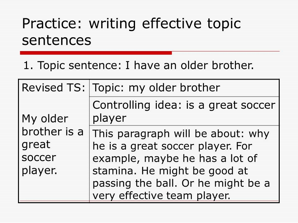effective topic sentence