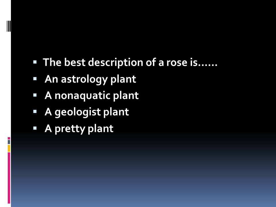 The best description of a rose is……