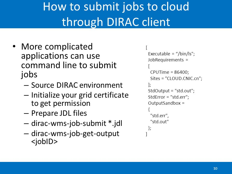 How to submit jobs to cloud through DIRAC client