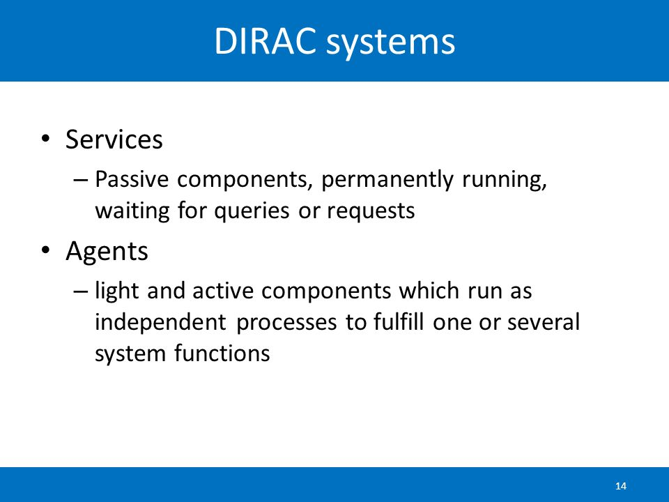 DIRAC systems Services Agents
