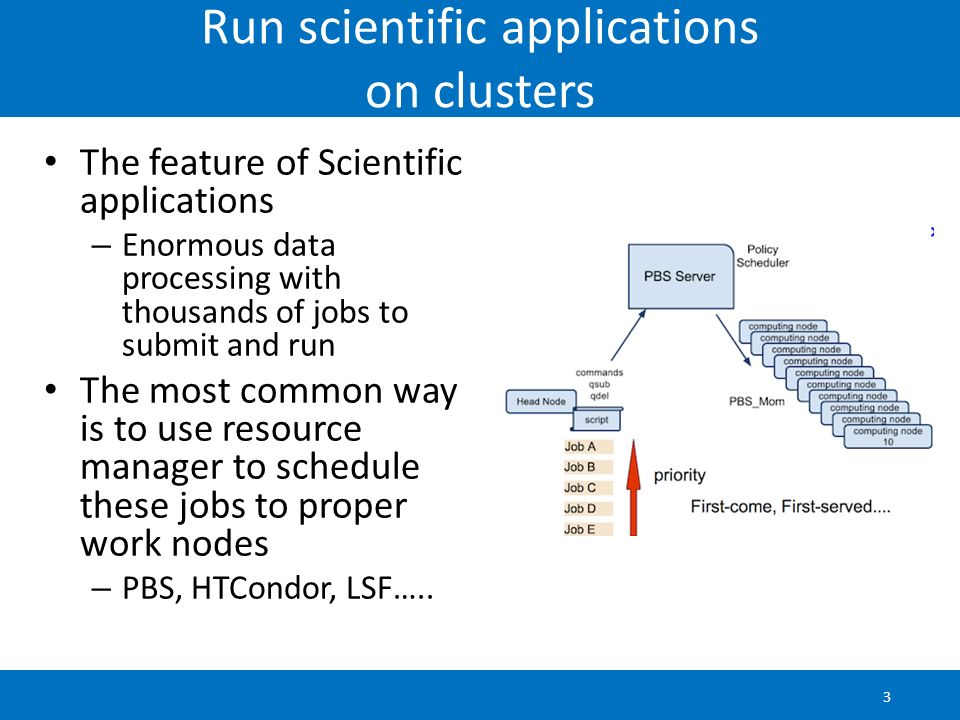 Run scientific applications on clusters