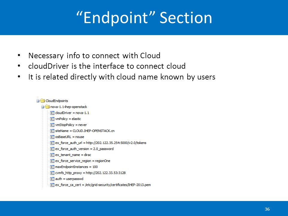 Endpoint Section Necessary info to connect with Cloud