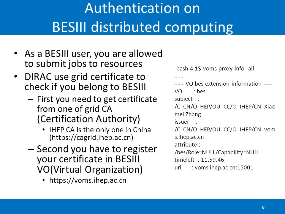 Authentication on BESIII distributed computing