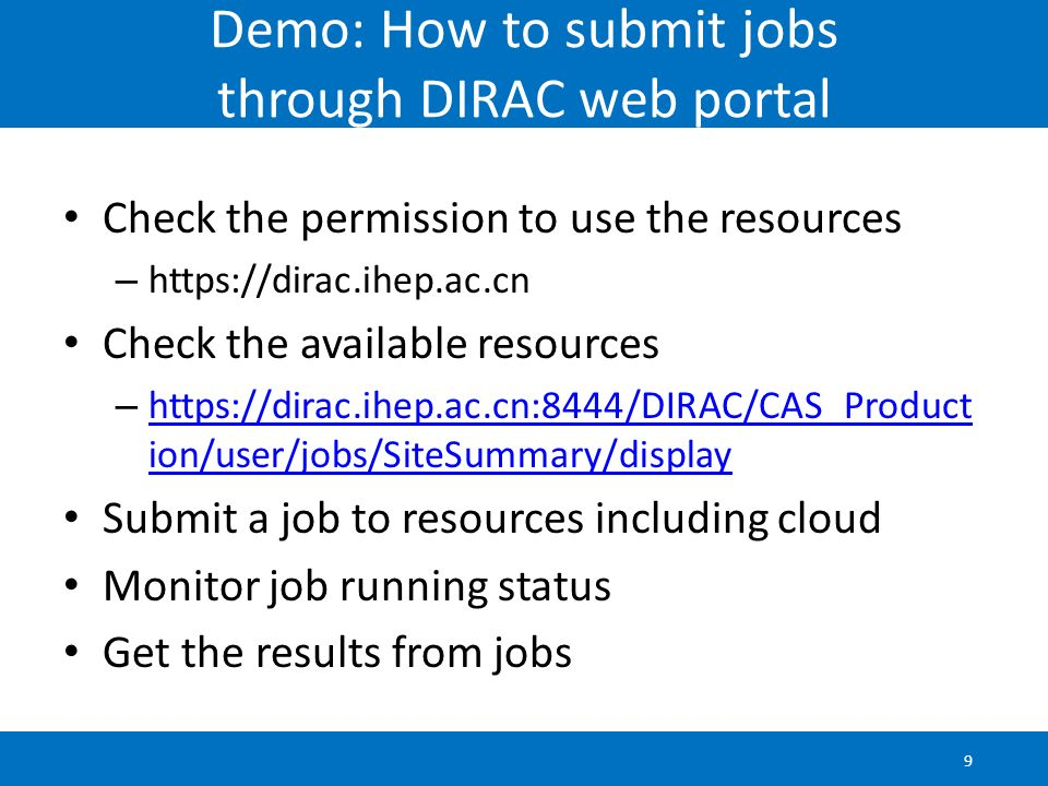 Demo: How to submit jobs through DIRAC web portal